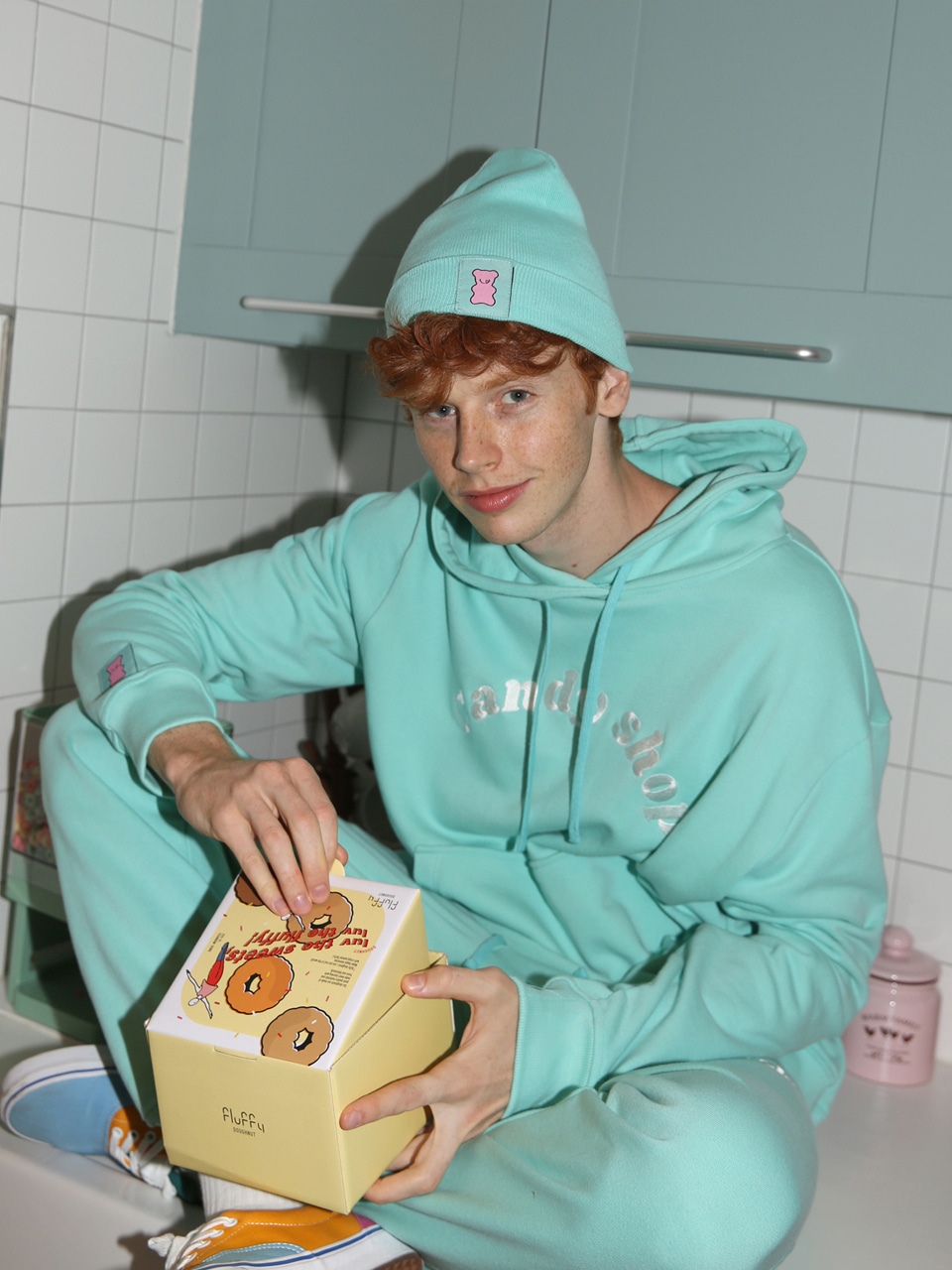 [10%SALE] Candy shop logo hood - MINT