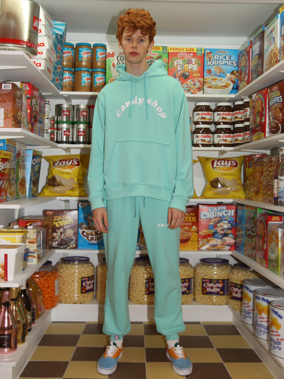 [10%SALE] Candy shop logo sweatpants - MINT